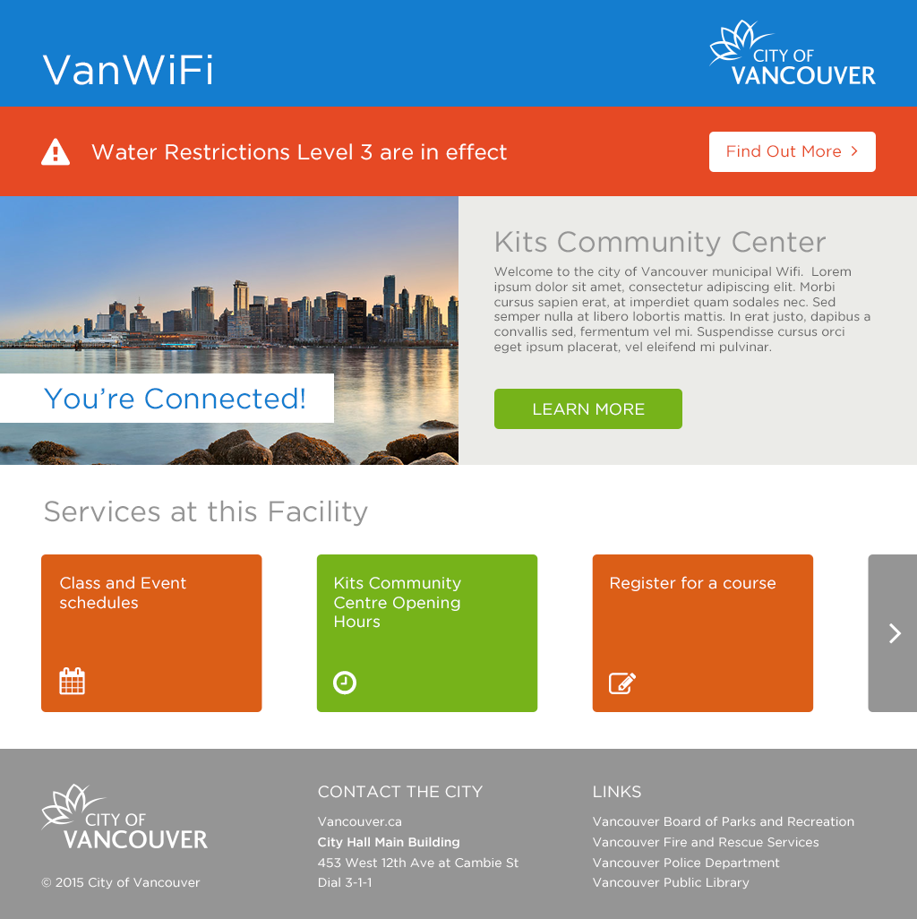 WiFi Portal: VanWiFi for the City of Vancouver